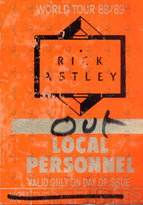 ASTLEY-- RICK - 'World Tour 88/89' Local Personnel Cloth Sticker Patch - 1