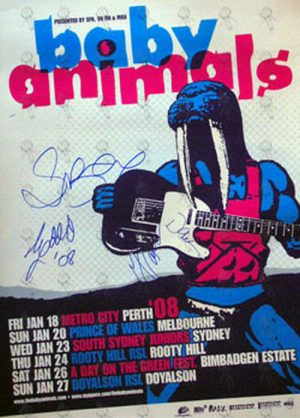 BABY ANIMALS - Fully Signed 2008 - Original Lineup - Australian Tour Poster - 1
