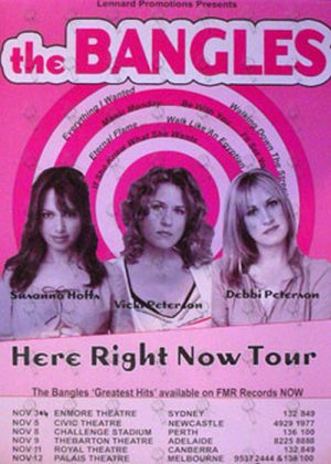 BANGLES-- THE - Here Right Now 2008 Australian Tour Poster - 1