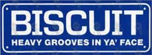 BISCUIT - Blue 'Heavy Grooves In Ya' Face' Sticker - 1