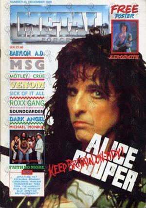 COOPER-- ALICE - 'Metal Forces' - December 1989 - Alice Cooper On Cover - 1