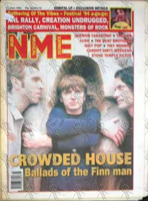 CROWDED HOUSE - 'NME' -11th June 1994 - Crowded House On Cover - 1