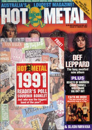 DEF LEPPARD - 'Hot Metal' - March 1992 - Def Leppard On Cover - 1