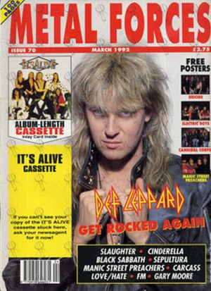 DEF LEPPARD - 'Metal Forces' - March 1992 - Joe Elliot On Cover - 1