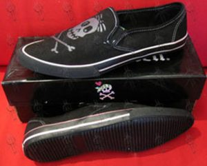 DRAVEN - Black With Grey Skull Design Pointed-Toe Womens' Slip-On Shoes - 1