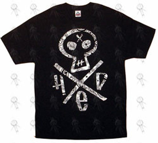 HED PE - Black 'Tribal Skull & Cross Logo' Design T-Shirt - 1