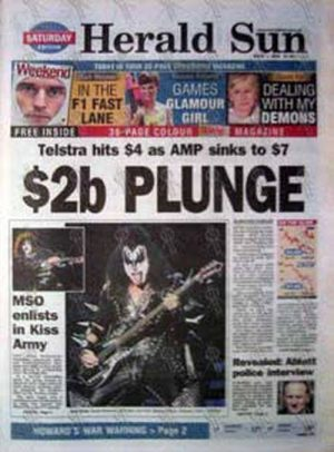 KISS - 'Herald Sun' - March 1 2003 - Kiss On The Cover - 1