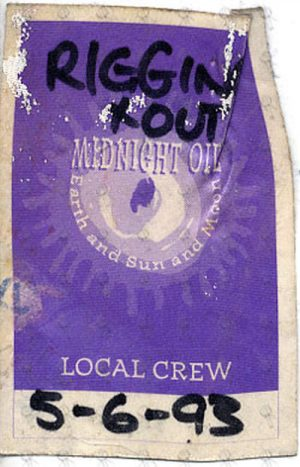 MIDNIGHT OIL - 'Earth And Sun And Moon' Local Crew Used Cloth Sticker Pass - 1