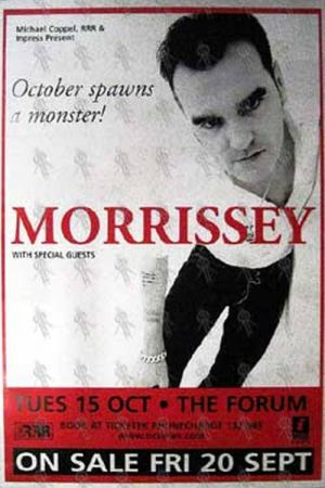 MORRISSEY - The Forum - Melbourne - Tuesday 15th October Show Poster - 1