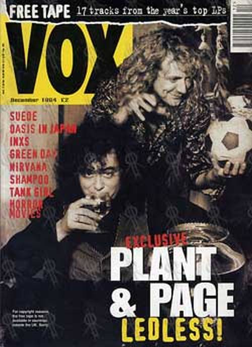 PAGE AND PLANT - 'Vox' - December 1994- Page & Plant On Cover - 1
