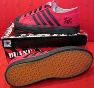 PETERS-- DUANE - Red With Black Stripes 'Skull' Design Low-Top Shoes - 1