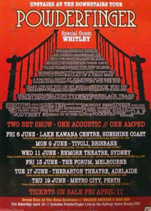 POWDERFINGER - 'Upstairs At The Downstairs' Australian Tour Poster - 1