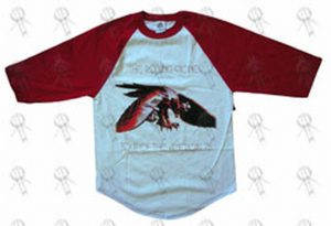 ROLLING STONES - White & Red '1975 American Tour' Design 3/4 Sleeve Shirt - 1