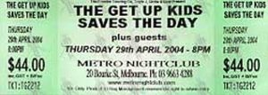 SAVES THE DAY THE GET UP KIDS - Unused Ticket - 1
