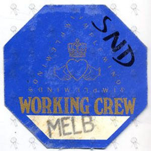 SIMPLE MINDS - Working Crew Cloth Sticker Pass - 1