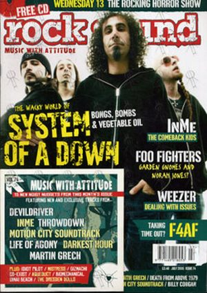 SYSTEM OF A DOWN - 'Rock Sound' - July 2005 - System Of A Down On Cover - 1